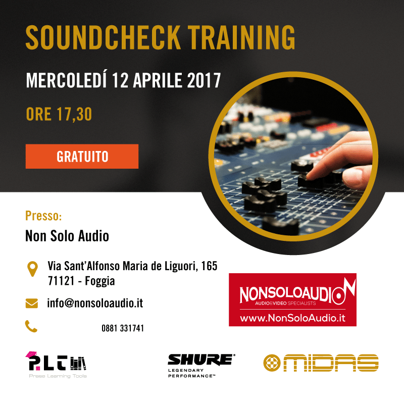 Soundcheck Training Tour – Tappa a Non Solo Audio (Foggia)